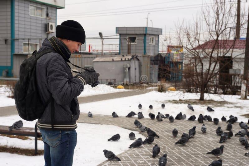 Fotógrafo da foto no parque foto de stock