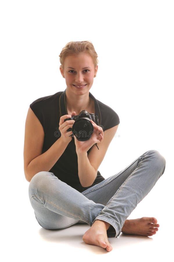 Fotógrafo da menina fotografia de stock