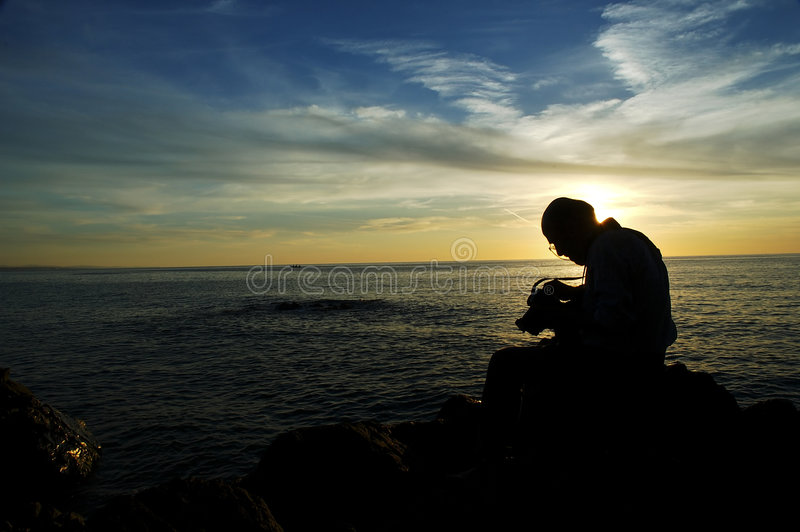 Fotógrafo De La Puesta Del Sol III Fotos de archivo