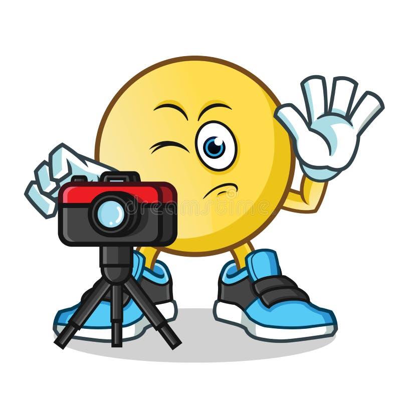 Fotógrafo del Emoticon que toma el ejemplo de la historieta del vector de la mascota de las imágenes imagen de archivo libre de regalías