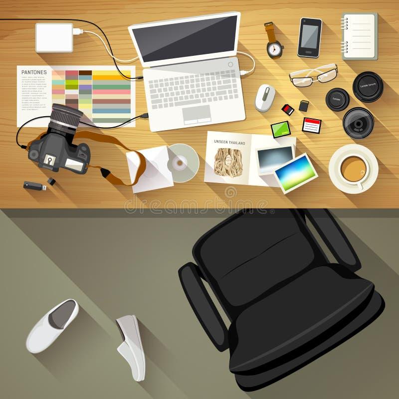Fotógrafo del escritorio del diseñador, vista superior del fondo del escritorio libre illustration