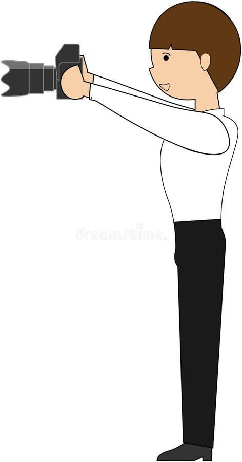 Fotógrafo delgado na camisa e nas calças no fundo branco isolado com a câmera, tomando imagens ilustração royalty free