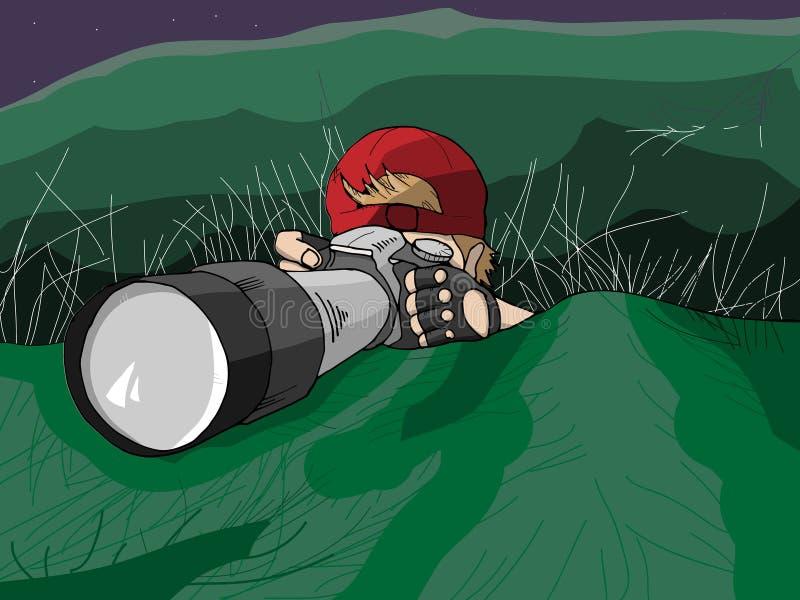 Fotógrafo dibujado mano Hiding en la misión stock de ilustración