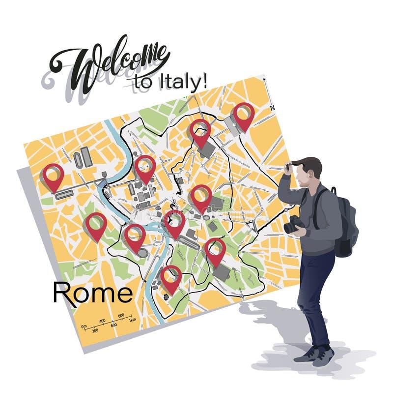 Fotógrafo do turista e mapa de Roma Boa vinda a It?lia ilustração royalty free