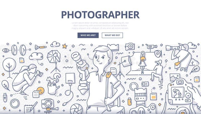 Fotógrafo Doodle Concept stock de ilustración