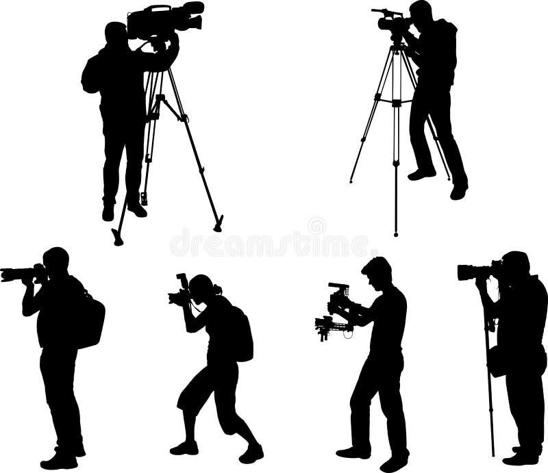 Fotógrafo e coleção das silhuetas dos videographers ilustração royalty free