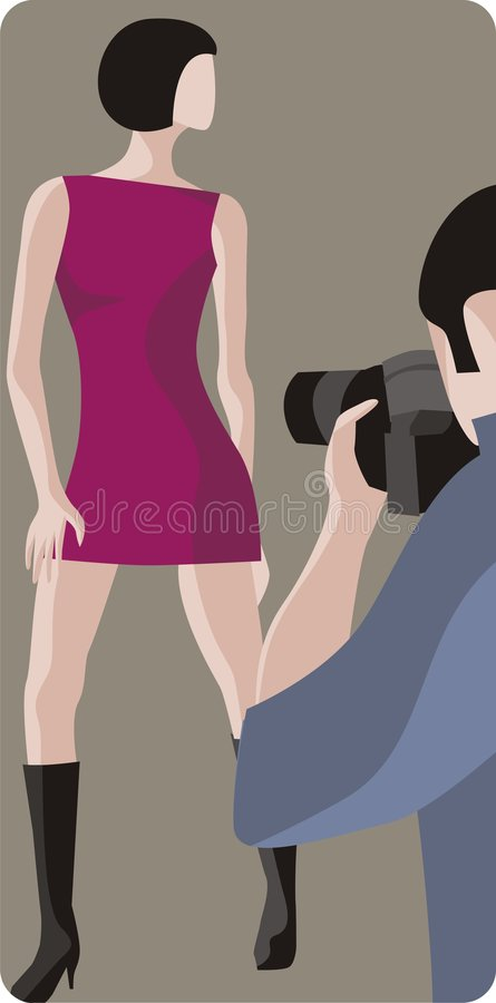 Fotógrafo e modelo de forma ilustração do vetor