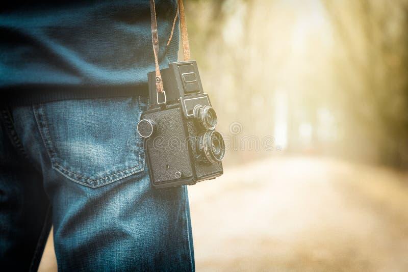 Fotógrafo en el camino fotografía de archivo libre de regalías