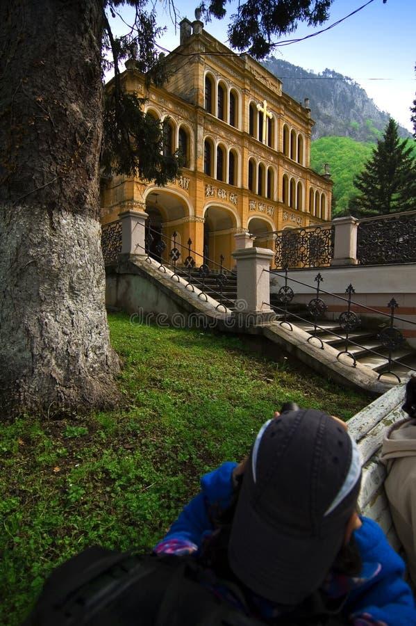 Fotógrafo en Herculane, Rumania fotos de archivo