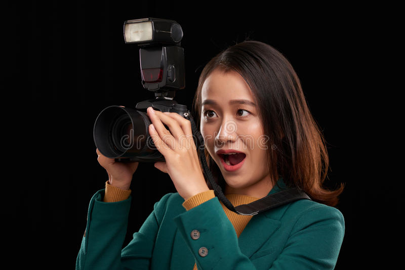 Fotógrafo Excited imagem de stock