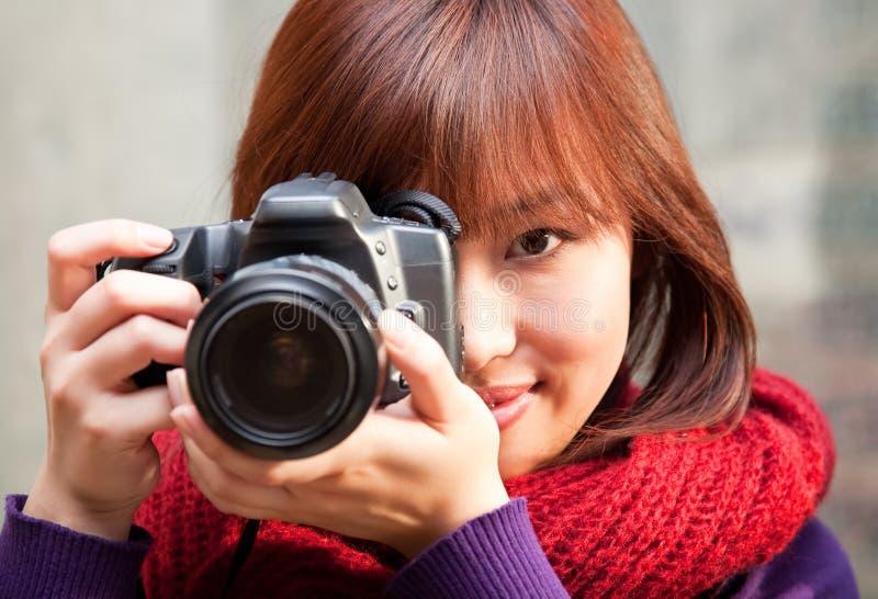 Fotógrafo fêmea fotografia de stock