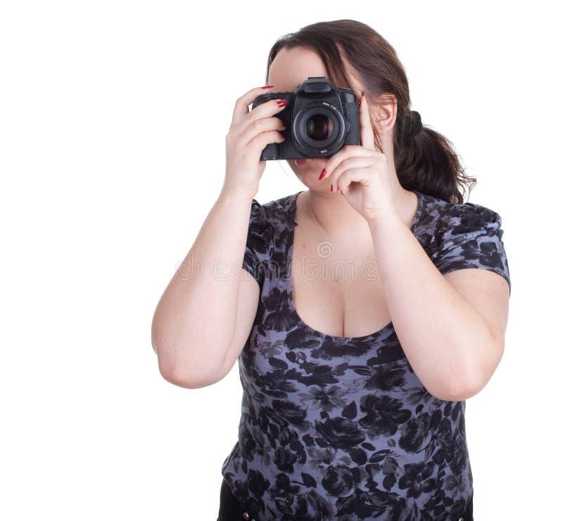 Fotógrafo fêmea gordo foto de stock