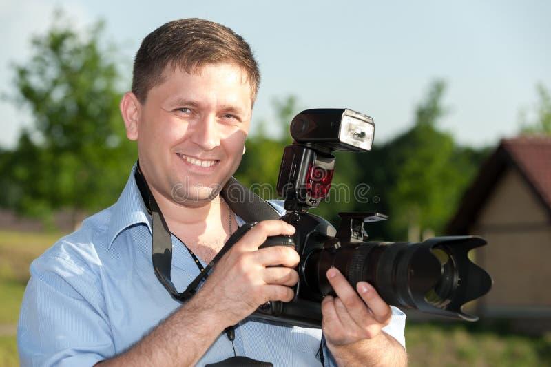 Fotógrafo feliz foto de archivo