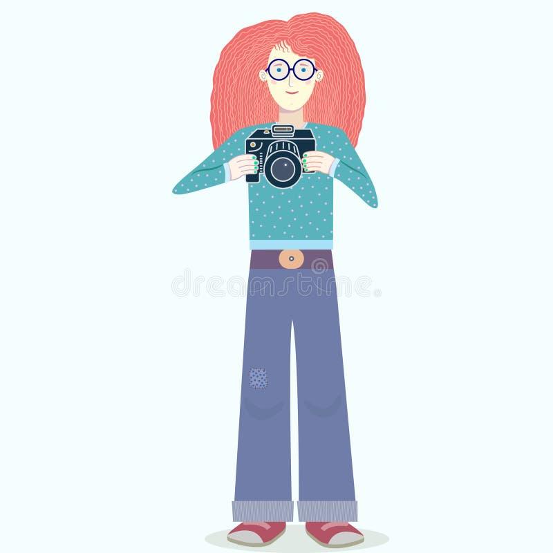 Fotógrafo hermoso de la muchacha que se coloca con su cámara libre illustration