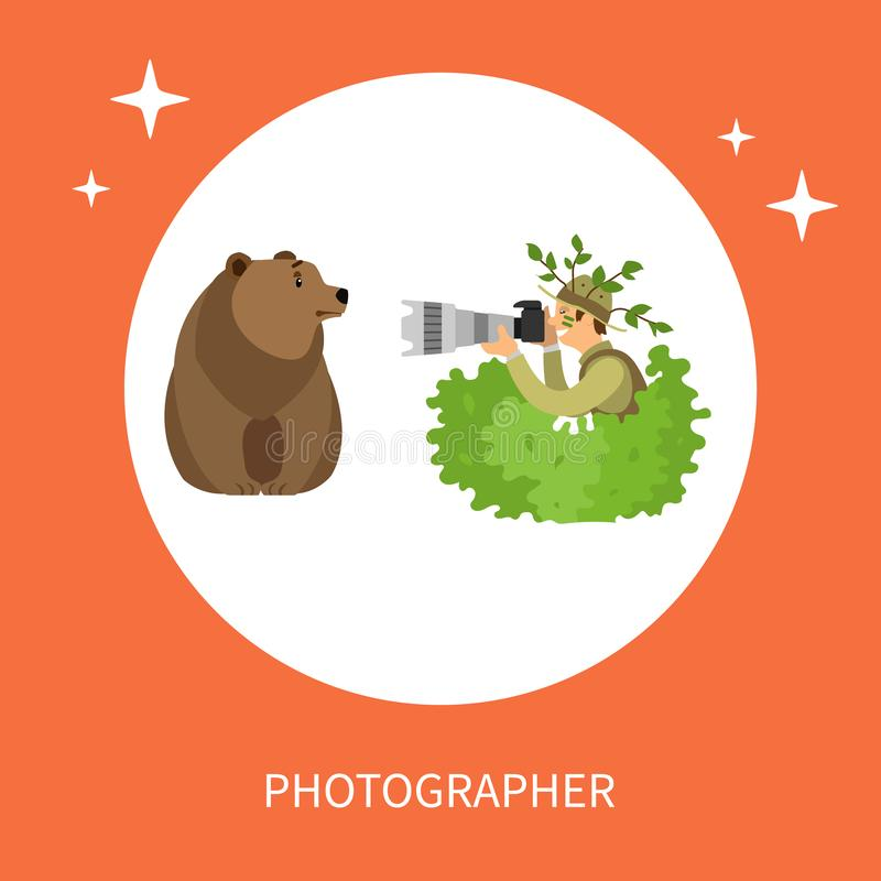 Fotógrafo Hiding en los arbustos que toman la foto del oso libre illustration