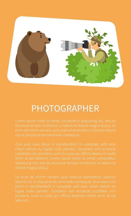 Fotógrafo Hiding en los arbustos que toman la foto del oso stock de ilustración