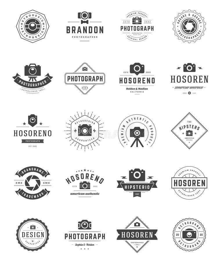 Fotógrafo Logo Templates Set Estilo do vintage do elemento do projeto do vetor para o Logotype ilustração do vetor