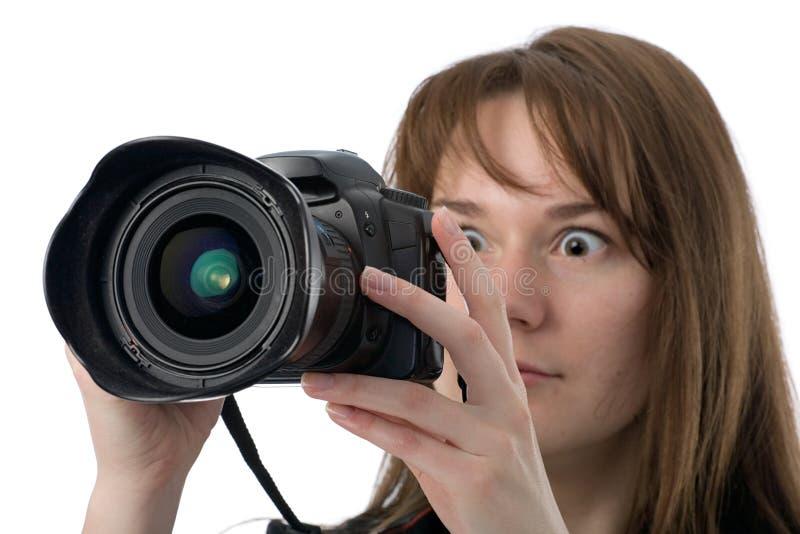 Fotógrafo muito surpreendido fotografia de stock