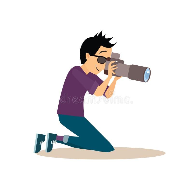 Fotógrafo novo no estilo liso Vetor ilustração royalty free
