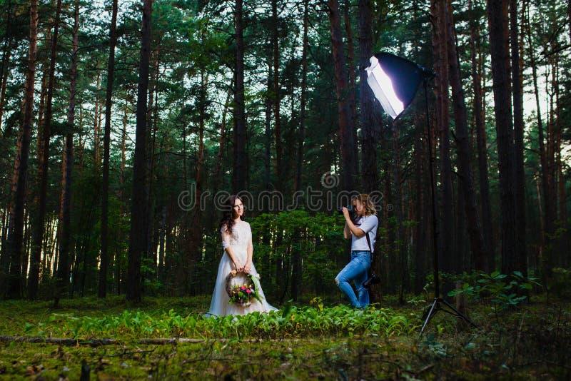 Fotógrafo profesional de la boda que usa el estroboscópico y el softbox para hacer imágenes imagenes de archivo