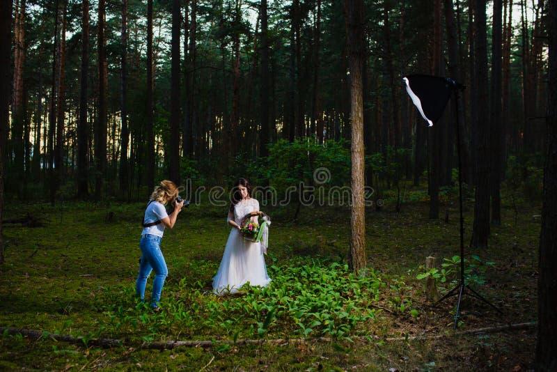 Fotógrafo profesional de la boda que usa el estroboscópico y el softbox para hacer imágenes foto de archivo