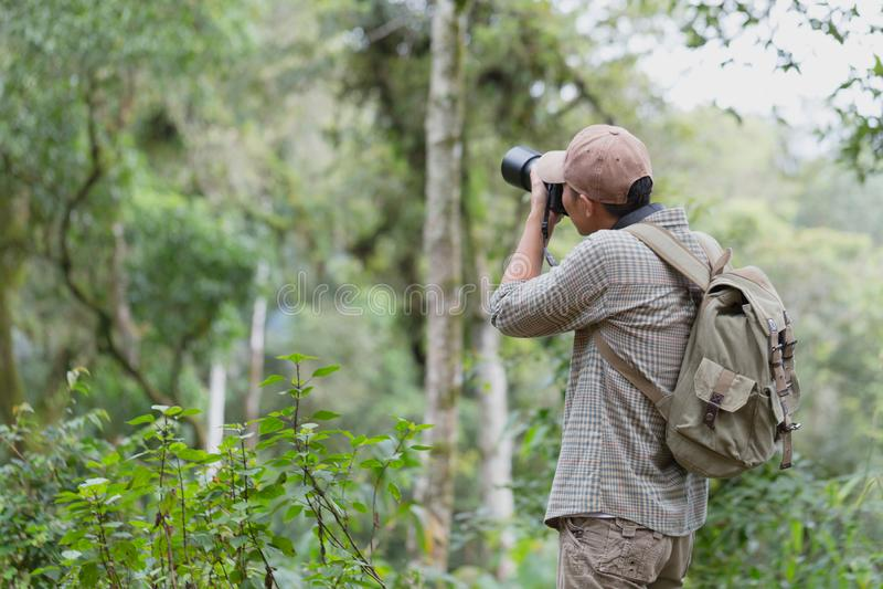 Fotógrafo profesional del hombre que toma a cámara los wi al aire libre de los retratos fotos de archivo