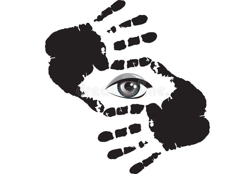 Fotógrafo que le mira a través del marco de la mano aislado en el fondo blanco libre illustration