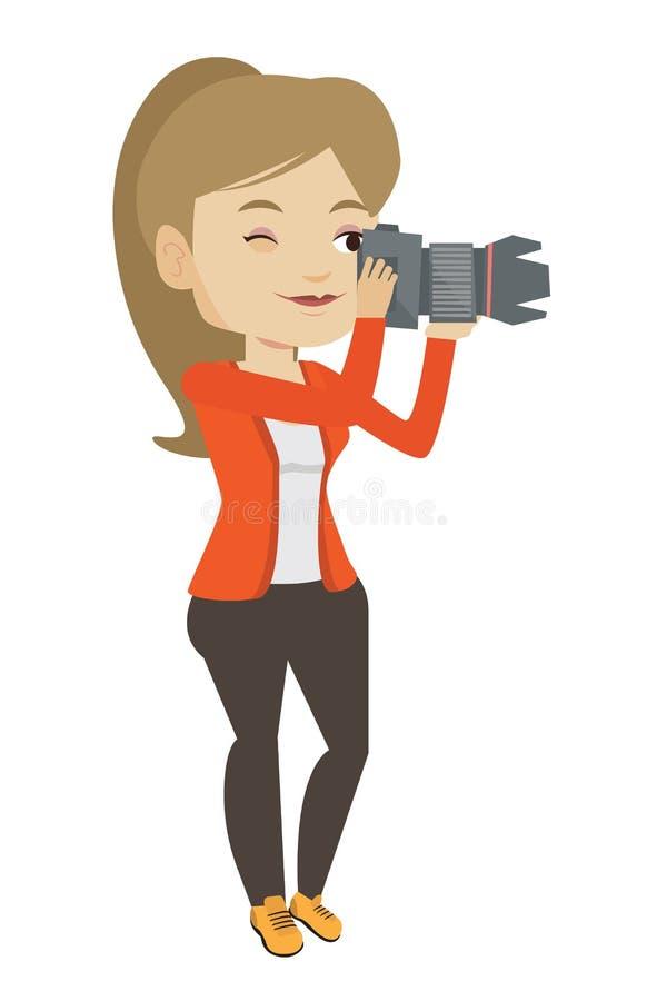 Fotógrafo que toma a ilustração do vetor da foto ilustração royalty free