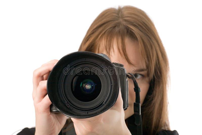 Fotógrafo que toma um tiro imagens de stock