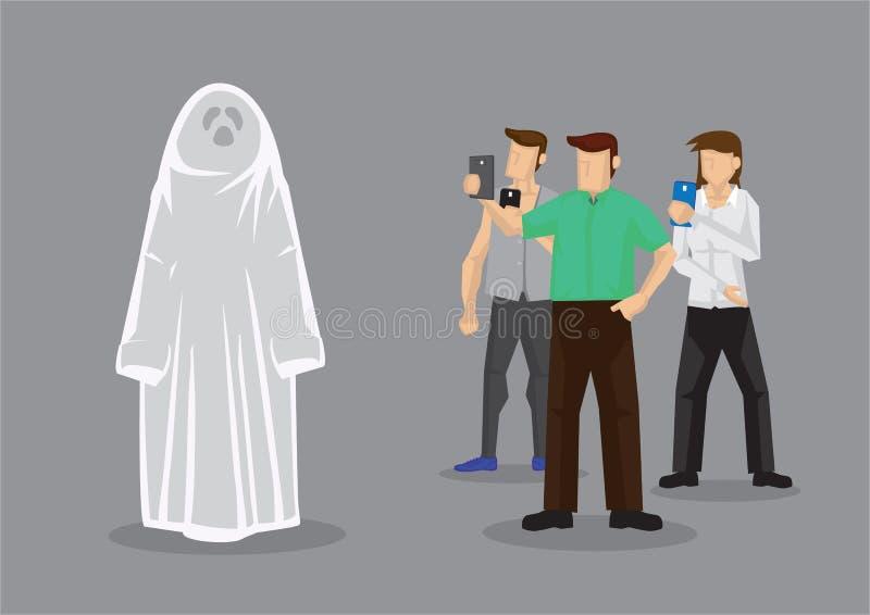 Fotógrafo que tomam fotos de um vetor Illustrati dos desenhos animados de Ghost ilustração stock