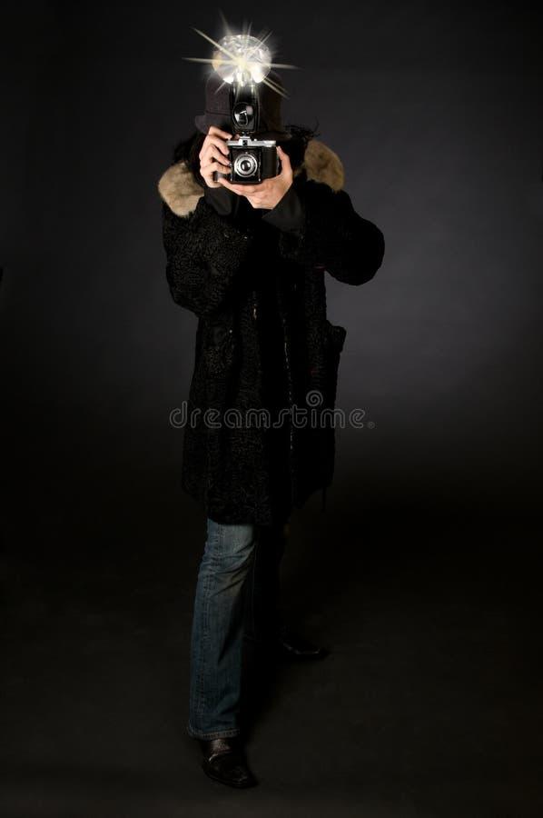 Fotógrafo retro do estilo fotografia de stock royalty free