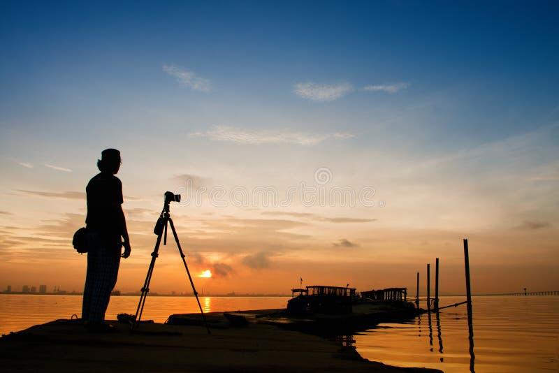 Fotógrafo Silhouette imagens de stock royalty free