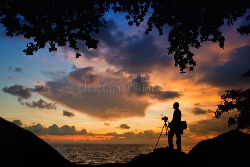 Fotógrafo Silhouette fotografia de stock