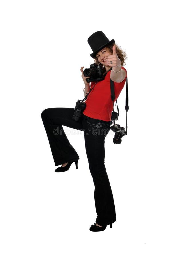 Fotógrafo sonriente de la muchacha imagen de archivo libre de regalías