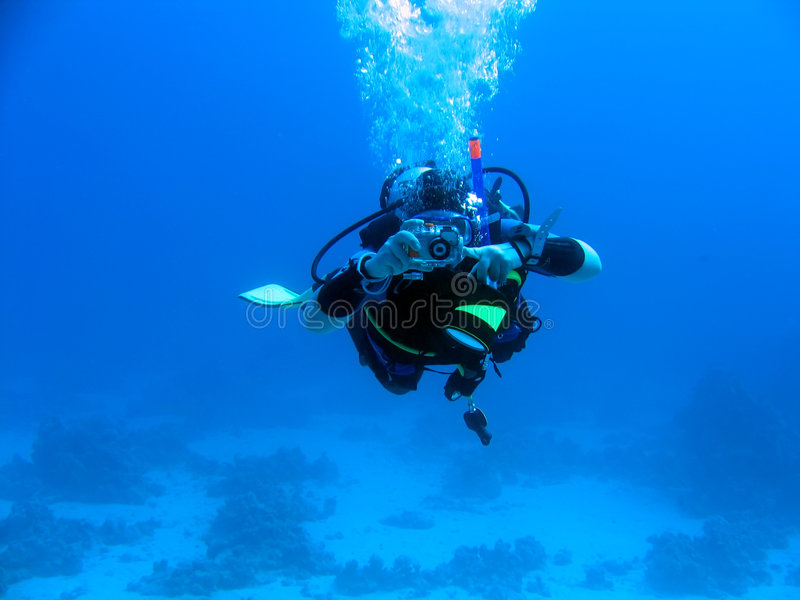 Fotógrafo subaquático foto de stock