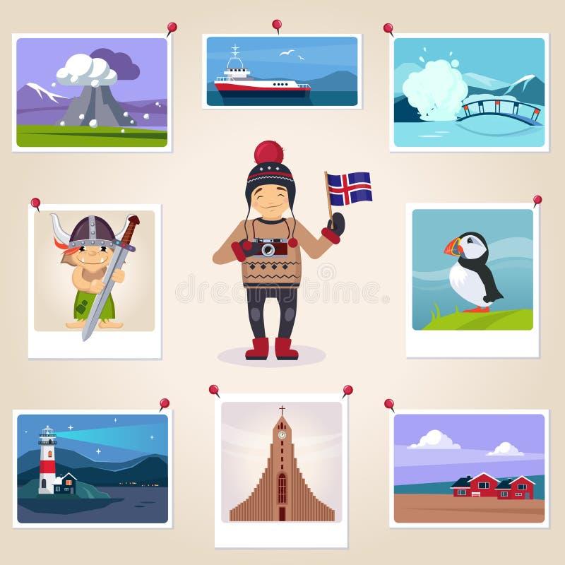 Fotógrafo Surrounded With Photos de Islandia ilustración del vector