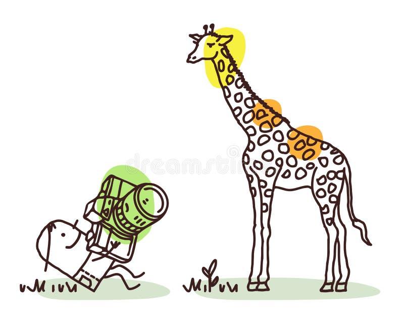 Fotógrafo Taking dos desenhos animados uma imagem do girafa ilustração royalty free