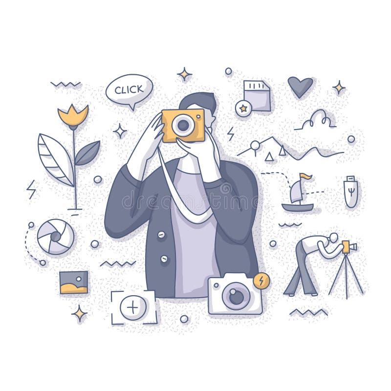 Fotógrafo Taking Pictures Concept ilustração stock