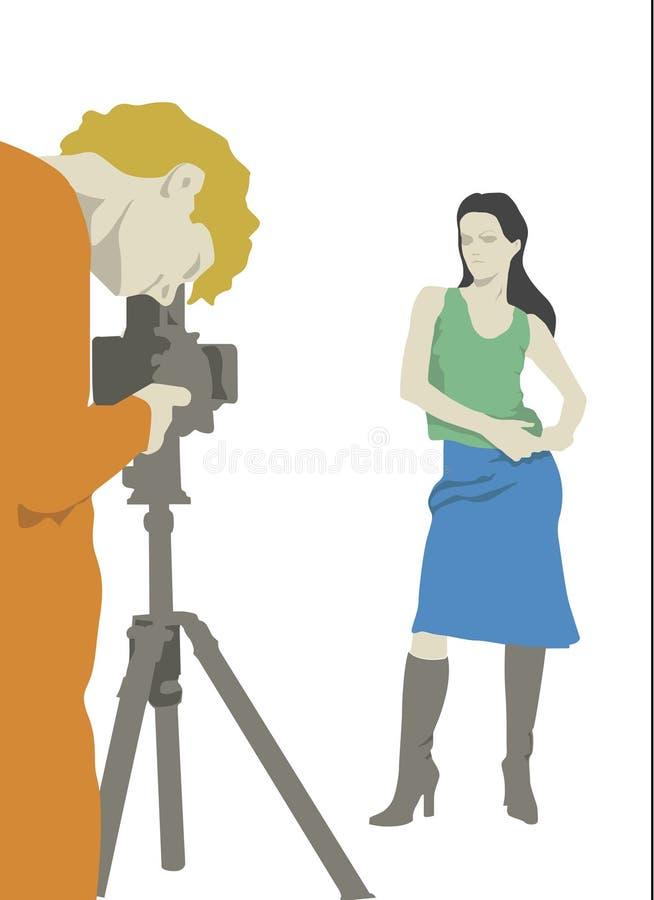Fotógrafo y modelo ilustración del vector