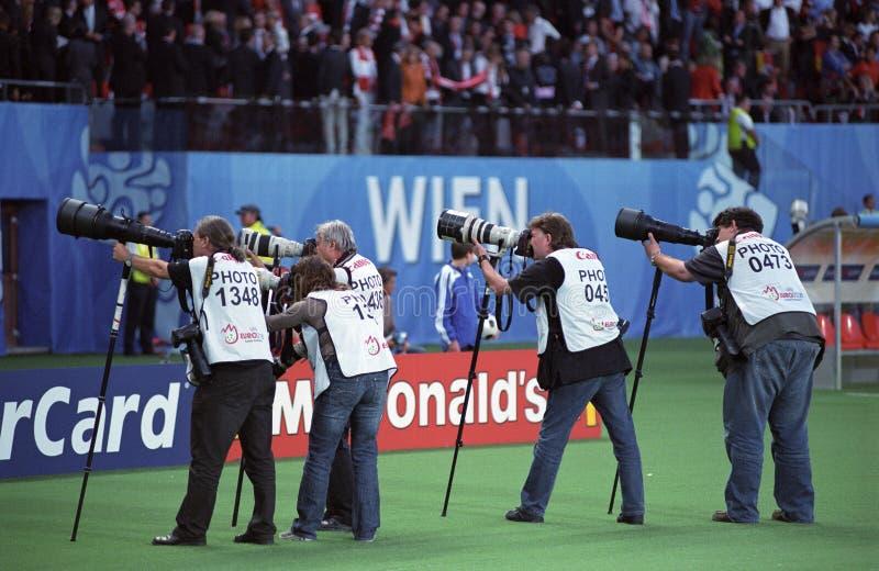 Fotógrafos del deporte fotografía de archivo libre de regalías