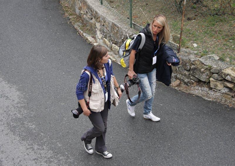 Fotógrafos en la reunión de Sanremo foto de archivo