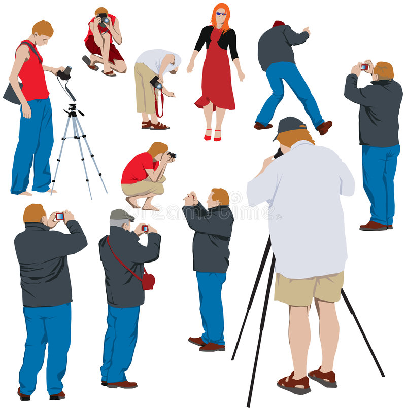 Fotógrafos que tiran el modelo libre illustration