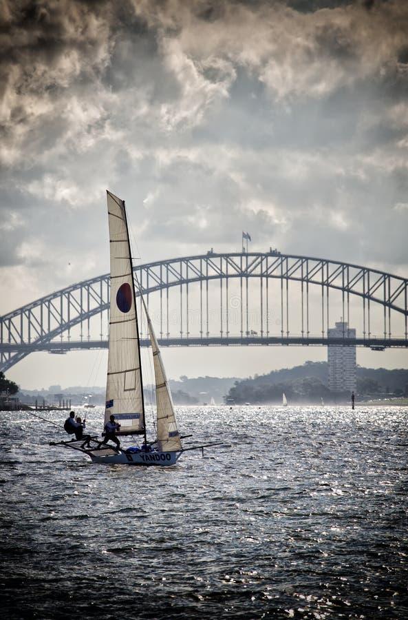 18 fot ekor på Sydney Harbour royaltyfri bild