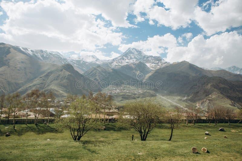 Fot för trädgårds- stad - höga berg snöar sommar arkivbilder