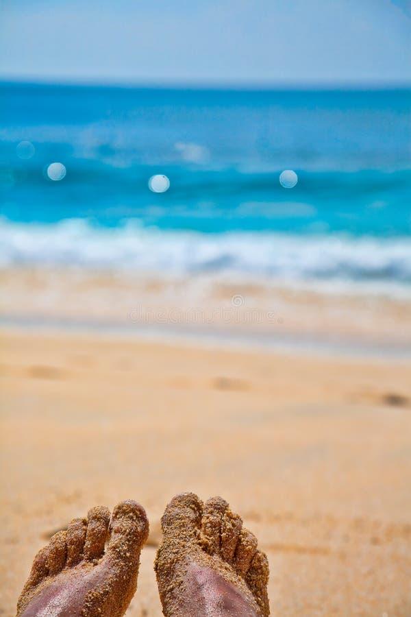 Fot på en sandstrand arkivbild