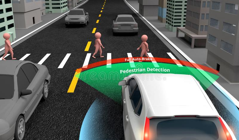Fot- upptäcktsteknologi, autonom själv-körande bil med Lidar, radar och trådlös signal, tolkning 3d stock illustrationer