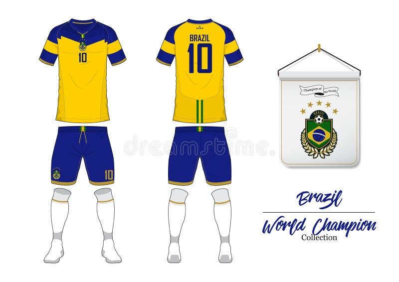 Fotbollärmlös tröja eller fotbollsats Brasilien fotbolllandslag Fotbolllogo med husflaggan Främre och bakre siktsfotbolllikformig stock illustrationer
