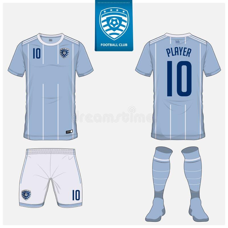 Fotbollärmlös tröja eller fotbollsats, kortslutningar, socka, malldesign för fotbollklubba Sportt-skjorta åtlöje upp Främre skjor vektor illustrationer