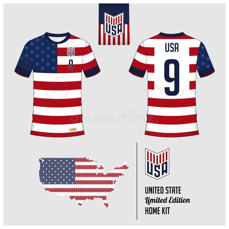 Fotbollärmlös tröja eller fotbollsats, mall för Amerikas förenta statermedborgarefotbollslag Plan fotbolllogo på den Venezuela fl stock illustrationer