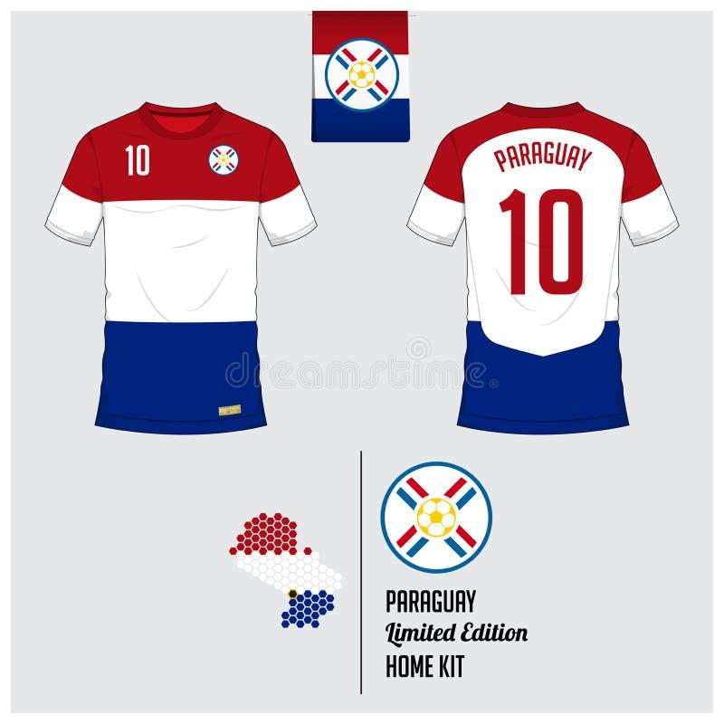 Fotbollärmlös tröja eller fotbollsats, mall för Paraguay medborgarefotbollslag Plan fotbolllogo på Paraguay flaggaetikett royaltyfri illustrationer